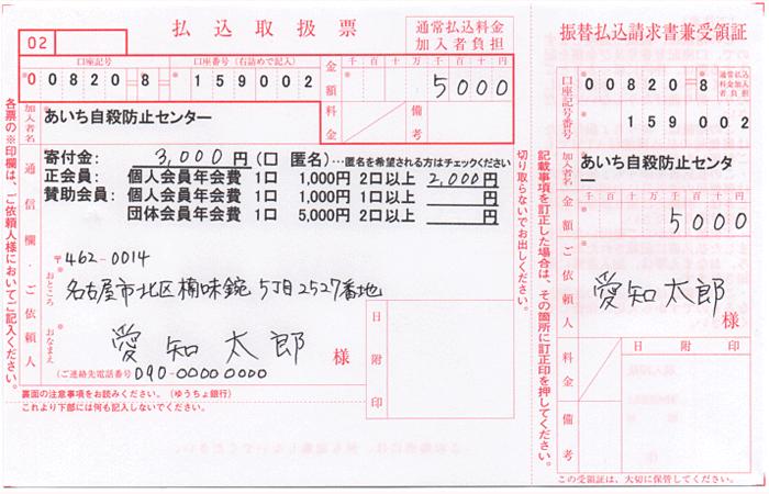 郵便振替 払込取扱票記入例